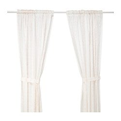 LATTJO curtains with tie-backs, 1 pair, dotted, white pink Length: 250 cm Width: 120 cm