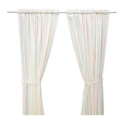 LATTJO curtains with tie-backs, 1 pair, stripe, multicolor