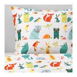 LATTJO quilt cover and pillowcase, animal, multicolour Quilt cover length: 200 cm Quilt cover width: 150 cm Pillowcase length: 50 cm