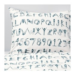 "LATTJO duvet cover and pillowcase(s), numbers, dark green blue Thread count: 144 square inches Duvet cover length: 86 "" Duvet cover width: 64 "" Thread count: 144 square inches Duvet cover length: 218 cm Duvet cover width: 162 cm"
