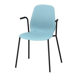 LEIFARNE chair with armrests, light blue, Dietmar black
