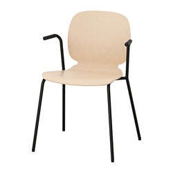 SVENBERTIL chair with armrests, birch, Dietmar black