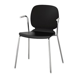 SVENBERTIL chair with armrests, black, Dietmar chrome-plated