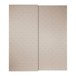 SVORKMO pair of sliding doors, patterned beige, white Width: 200 cm Height: 236 cm