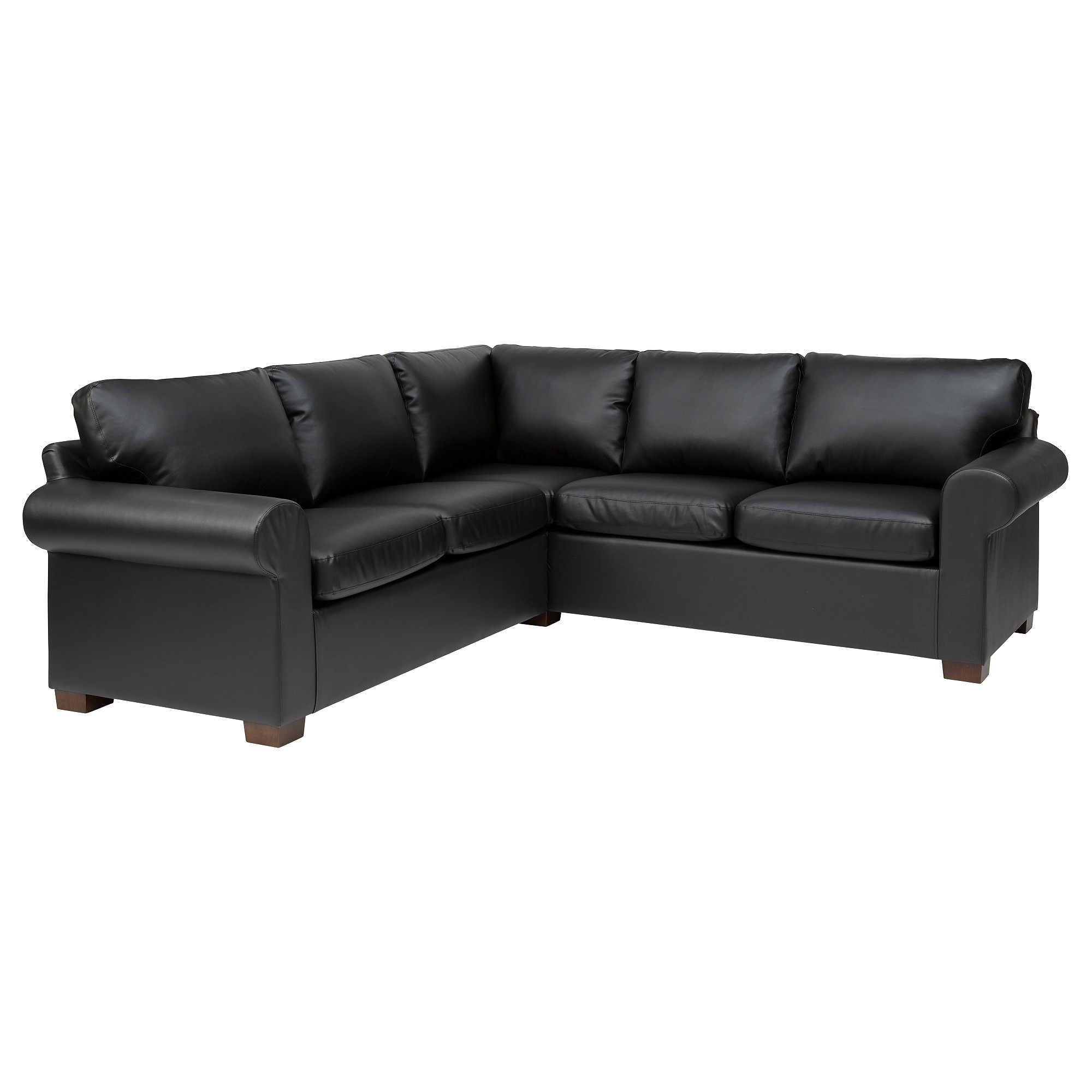 Faux leather sectional sofa with chaise buchannan faux for Black leather chaise sofa
