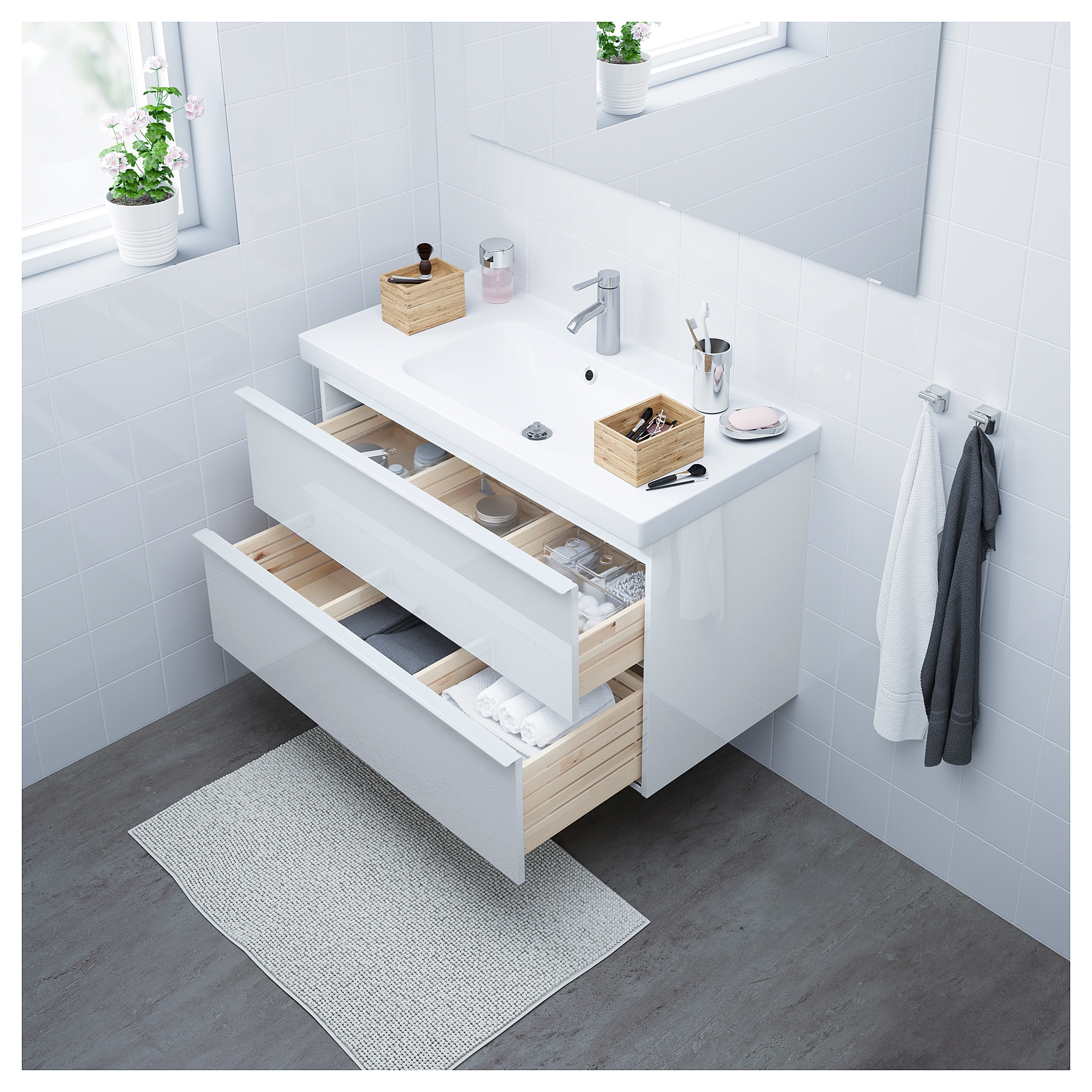 GODMORGON / ODENSVIK Sink cabinet with 2 drawers - white stained oak ...