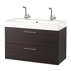 GODMORGON /  BRÅVIKEN wash-stand with 2 drawers, black-brown Width: 102 cm Wash-stand width: 100 cm Depth: 49 cm