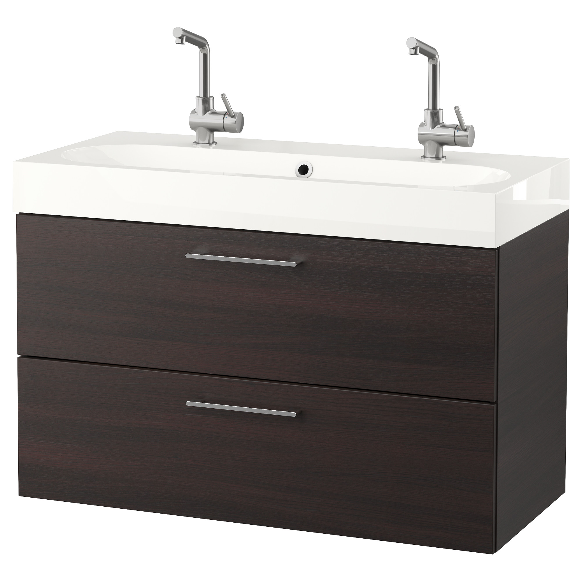 godmorgon brviken sink cabinet with 2 drawers black brown width 40 1