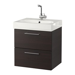 GODMORGON /  BRÅVIKEN wash-stand with 2 drawers, black-brown Width: 62 cm Wash-stand width: 60 cm Depth: 49 cm