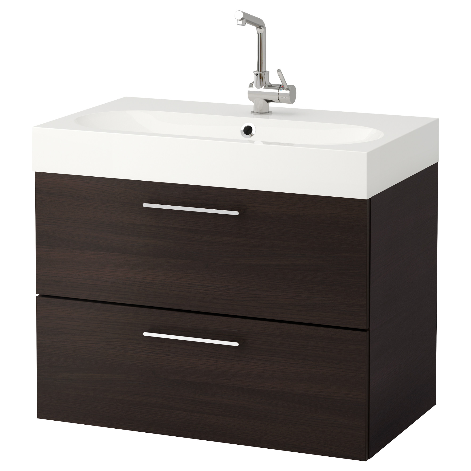 GODMORGON / BRÅVIKEN Sink cabinet with 2 drawers - high gloss gray ...