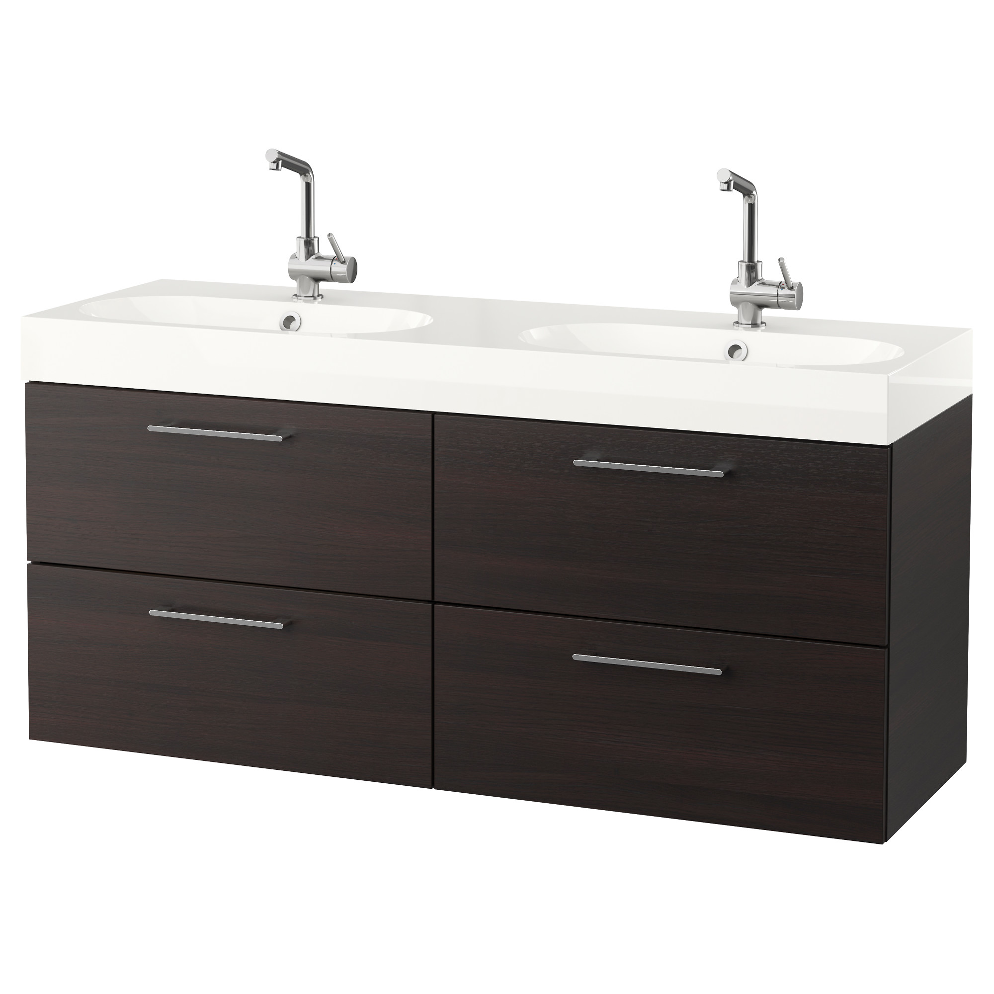 godmorgon brviken sink cabinet with 4 drawers black brown width 55 7