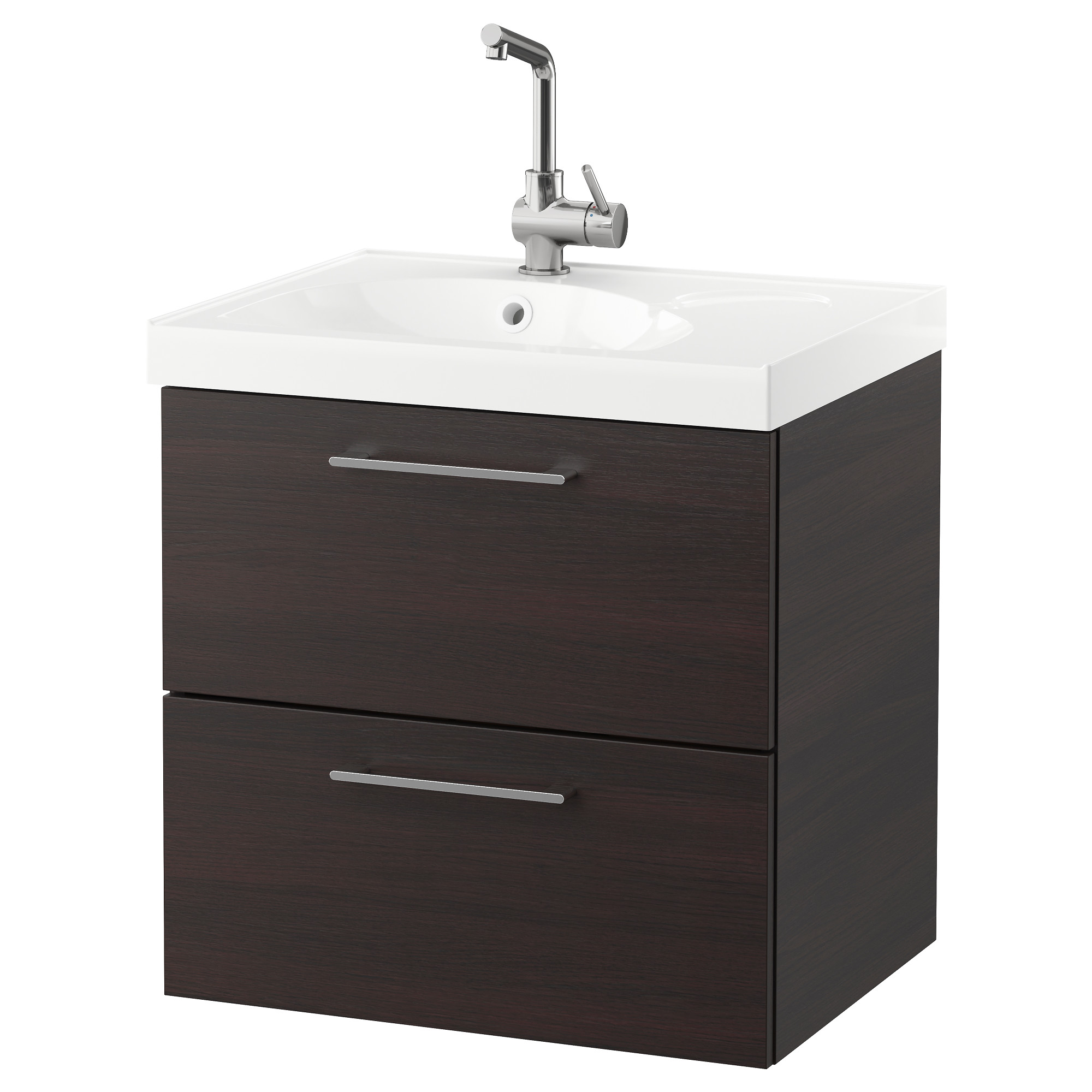 Godmorgon Edeboviken Sink Cabinet With 2 Drawers Black Brown Width 24 3