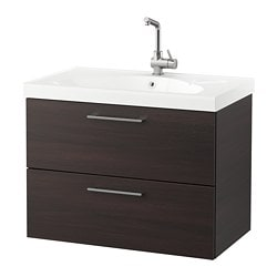 GODMORGON /  EDEBOVIKEN wash-stand with 2 drawers, black-brown Width: 82 cm Wash-stand width: 80 cm Depth: 49 cm