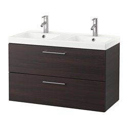 GODMORGON /  ODENSVIK sink cabinet with 2 drawers, black-brown