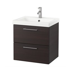 GODMORGON /  ODENSVIK wash-stand with 2 drawers, black-brown