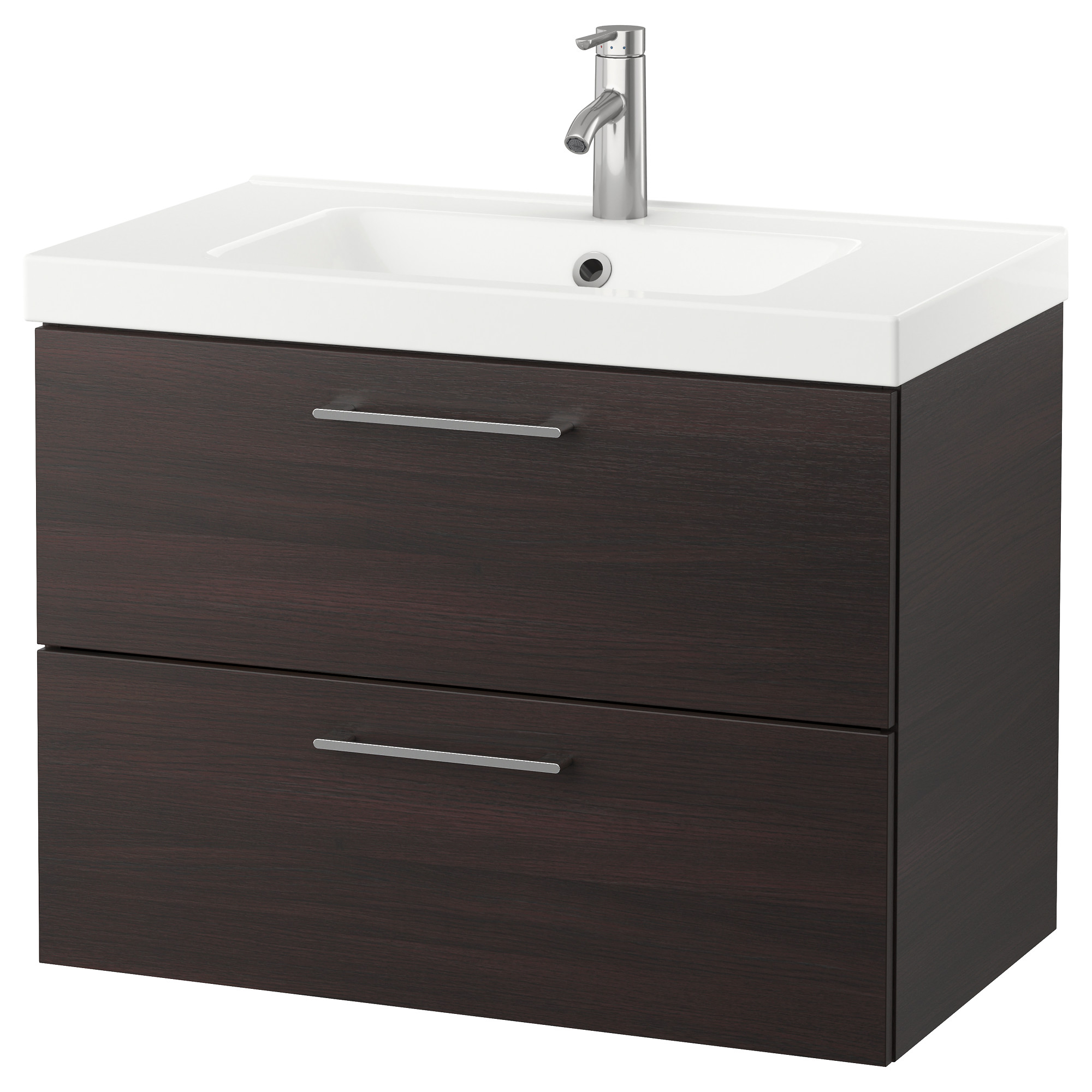 godmorgon odensvik sink cabinet with 2 drawers black brown width 32 5
