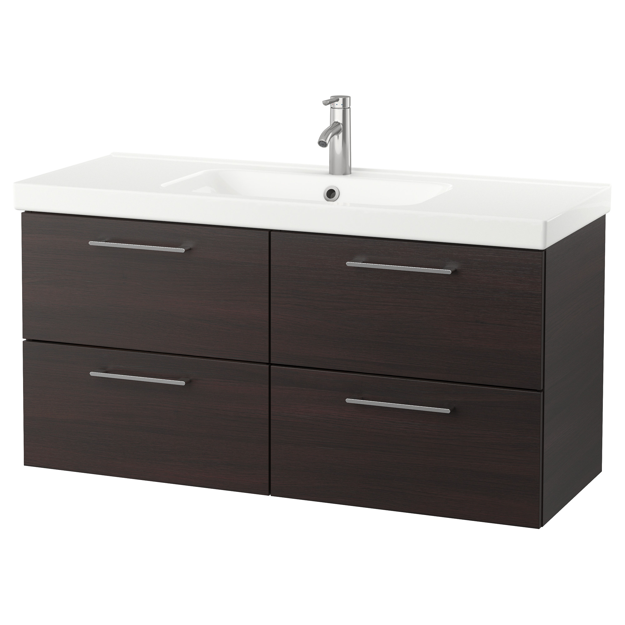 Godmorgon Odensvik Sink Cabinet With 4 Drawers High Gloss Gray  # Muebles Godmorgon Ikea