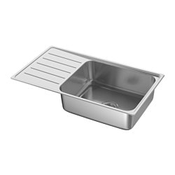 VATTUDALEN inset sink, 1 bowl with drainboard, stainless steel Bowl, depth: 18 cm Bowl, width: 50 cm Bowl, front to back: 40 cm