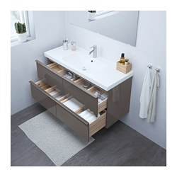 Morgon Odensvik Sink Cabinet With 4 Drawers High Gloss Gray