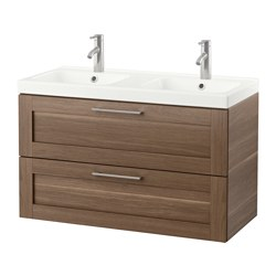 GODMORGON /  ODENSVIK wash-stand with 2 drawers, walnut effect Width: 103 cm Wash-stand width: 100 cm Depth: 49 cm