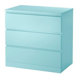 MALM, 3-drawer chest, light turquoise