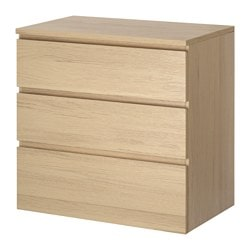 MALM chest of 3 drawers, white stained oak veneer Width: 80 cm Depth: 48 cm Height: 78 cm