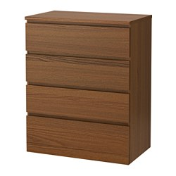 MALM 4-drawer chest, brown stained ash veneer