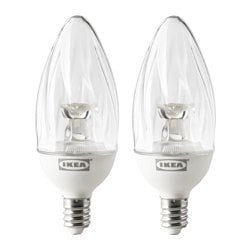 RYET LED bulb E12 100 lumen, chandelier, twisted clear Power: 1.5 W Package quantity: 2 pack Power: 1.5 W Package quantity: 2 pack