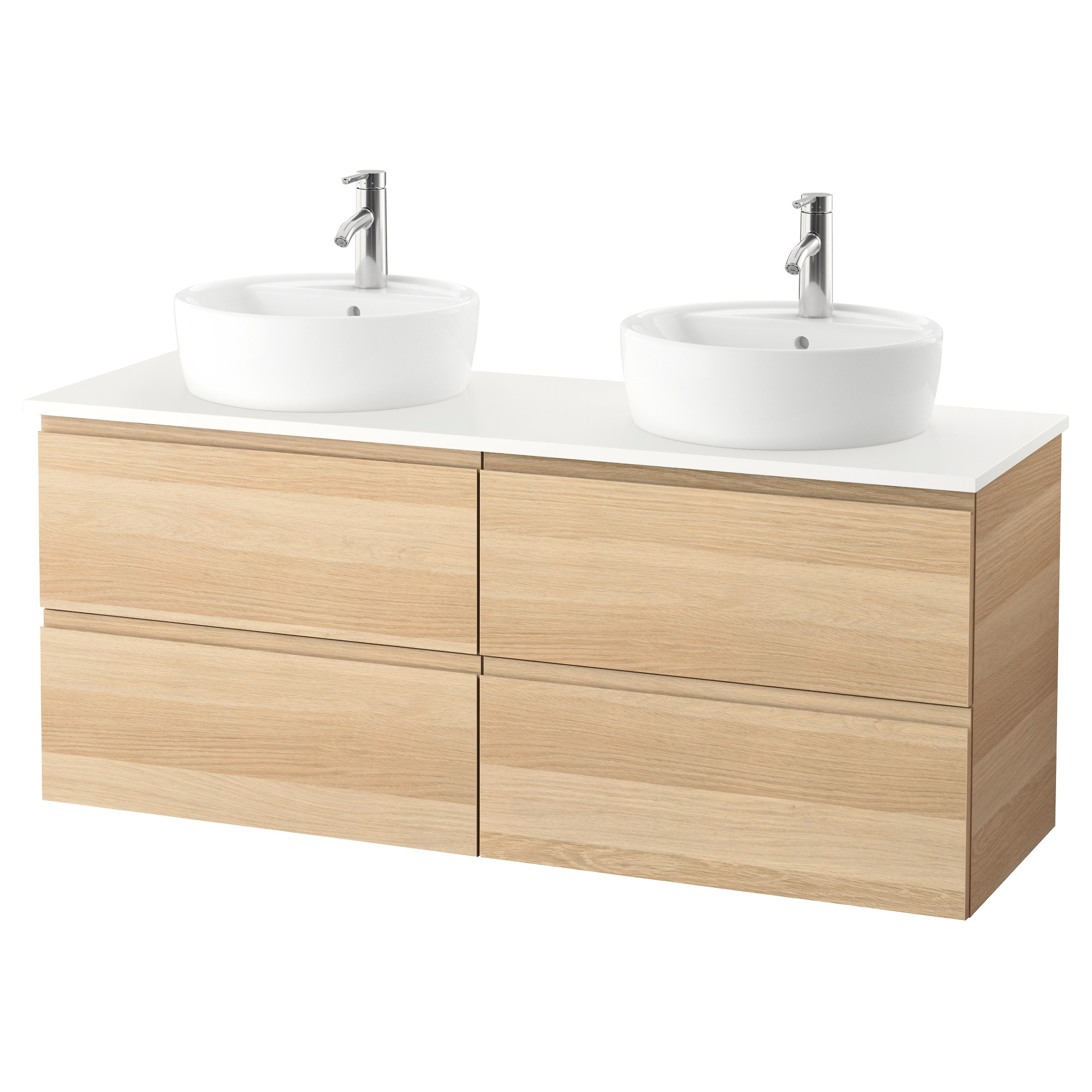 Meuble sous vasque arrondi beautiful godmorgon tolken for Meuble lavabo double vasque