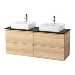 "GODMORGON/ TOLKEN /  TÖRNVIKEN vanity, countertop and 17 3/4"" sink, white stained oak effect, anthracite"