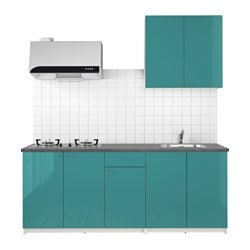 KNOXHULT kitchen, high-gloss blue-turquoise Width: 204.0 cm System, depth: 61.0 cm Height: 220.0 cm