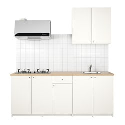 KNOXHULT kitchen, white Width: 204.0 cm System, depth: 61.0 cm Height: 220.0 cm