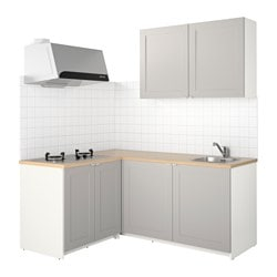 KNOXHULT kitchen, grey Width: 182.0 cm System, depth: 143.0 cm Height: 220.0 cm