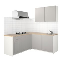 KNOXHULT kitchen, grey Width: 182.0 cm System, depth: 183.0 cm Height: 220.0 cm