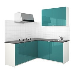 KNOXHULT kitchen, high-gloss blue-turquoise Width: 182.0 cm System, depth: 183.0 cm Height: 220.0 cm