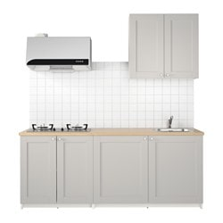 KNOXHULT kitchen, grey Width: 204.0 cm System, depth: 61.0 cm Height: 220.0 cm
