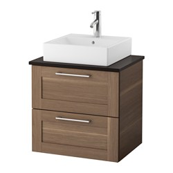 "GODMORGON/ TOLKEN /  TÖRNVIKEN vanity, countertop and 17 3/4"" sink, walnut effect, anthracite Width: 24 3/8 "" Sink cabinet width: 23 5/8 "" Depth: 19 1/4 "" Width: 62 cm Sink cabinet width: 60 cm Depth: 49 cm"