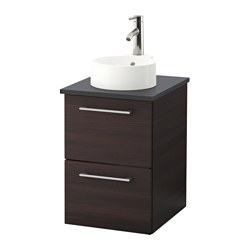 GODMORGON/ TOLKEN /  GUTVIKEN wsh-stnd w countertop 29 wash-basin, black-brown, anthracite Width: 42 cm Depth: 49 cm Height: 70 cm