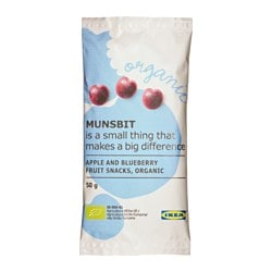MUNSBIT fruit snacks, apple, blueberry Net weight: 1.8 oz Net weight: 50 g