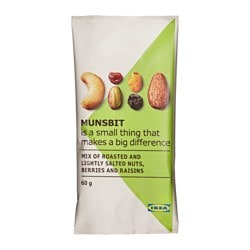 MUNSBIT dry-roasted nuts,berries & raisins Net weight: 2.1 oz Net weight: 60 g