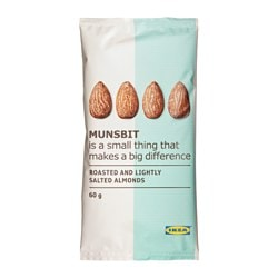 MUNSBIT dry-roasted almonds with salt Net weight: 2.1 oz Net weight: 60 g