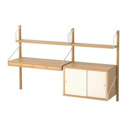 SVALNÄS wall-mounted workspace combination, bamboo, white
