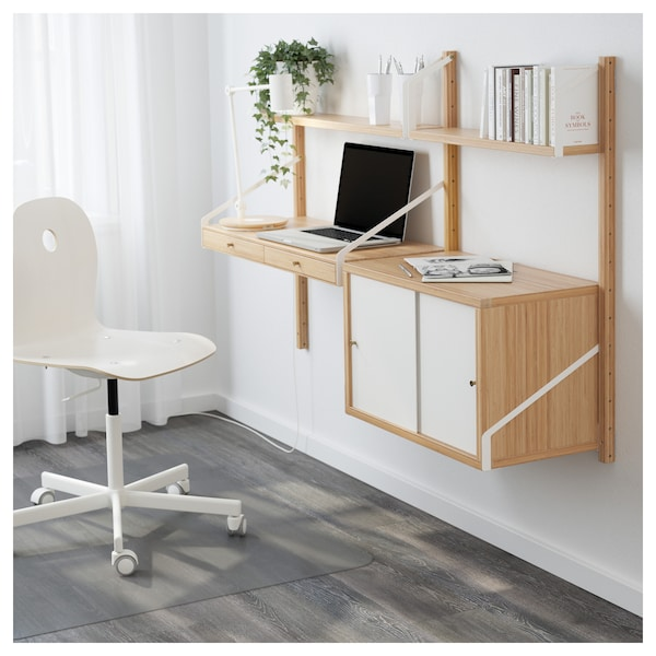 huge discount 176d1 61ce9 Wall-mounted workspace combination SVALNÄS bamboo, white