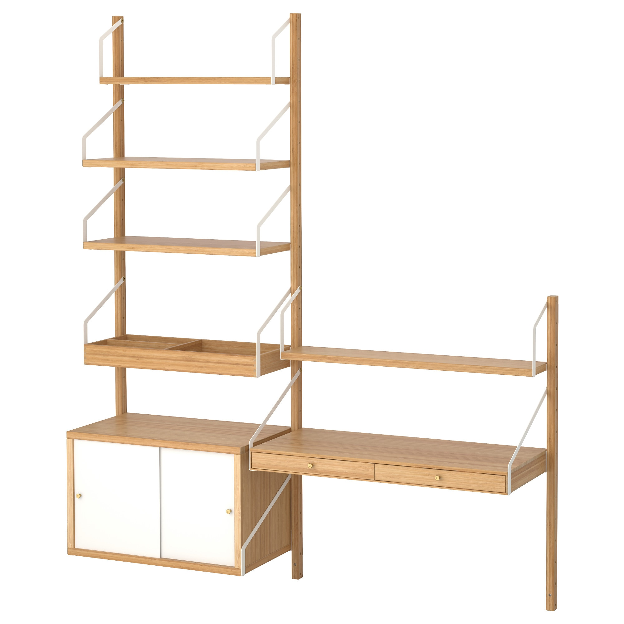SVALN S wall mounted storage combination  bamboo  white Width  59   Depth. Shelves   Shelving Units   IKEA