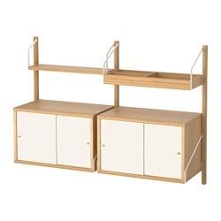 "SVALNÄS wall-mounted storage combination, bamboo, white Width: 51 1/8 "" Max. width: 51 1/8 "" Depth: 13 3/4 "" Width: 130 cm Max. width: 130 cm Depth: 35 cm"