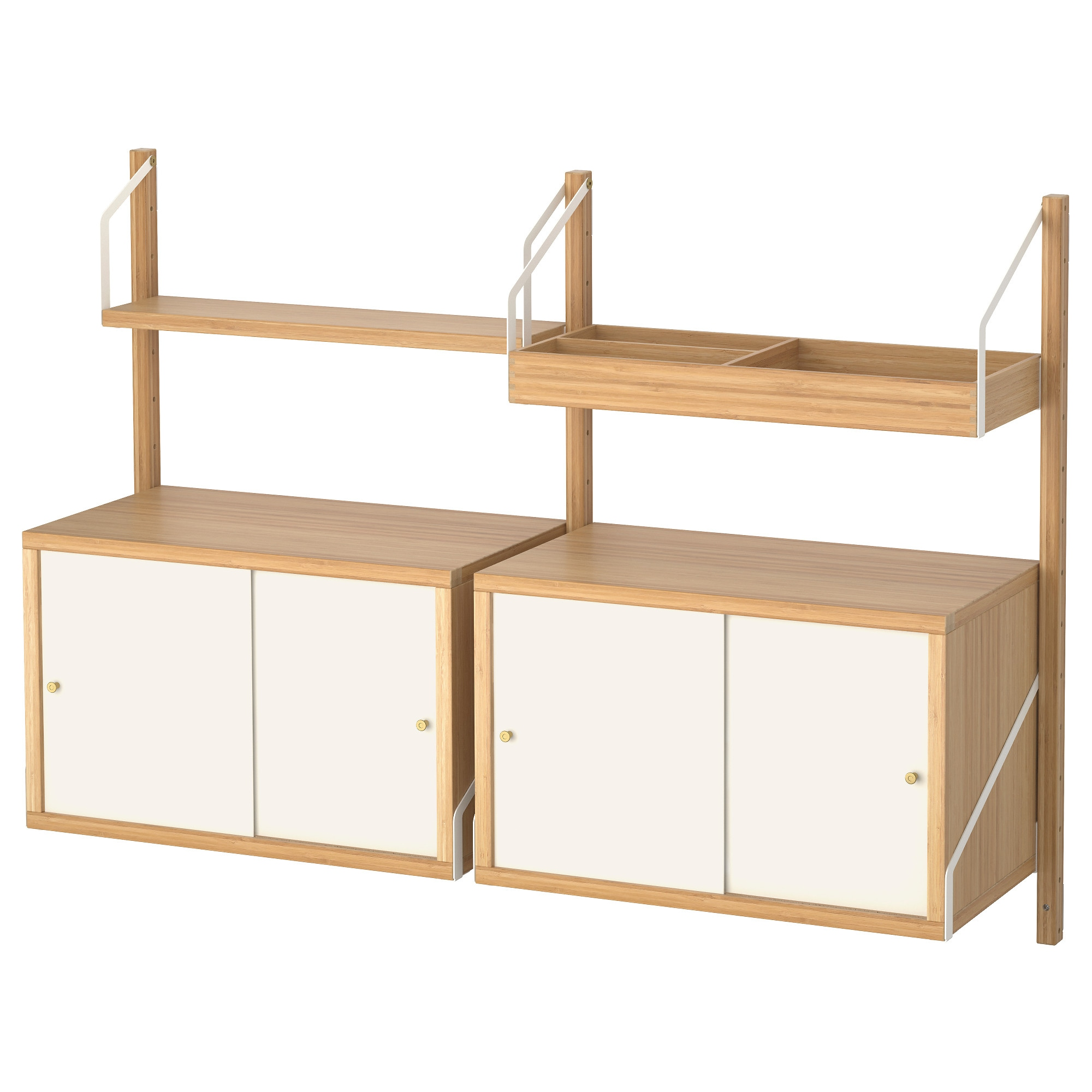 SVALN S wall mounted storage combination  bamboo  white Width  51 1 8. Shelves   Shelving Units   IKEA