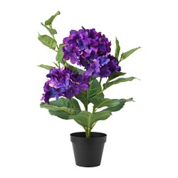 "FEJKA artificial potted plant, Hydrangea dark lilac Diameter of plant pot: 4 ¾ "" Height: 18 "" Diameter of plant pot: 12 cm Height: 46 cm"