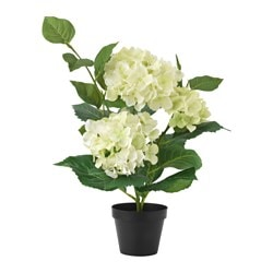 FEJKA artificial potted plant, Hydrangea light green Height: 46 cm Diameter of plant pot: 12 cm