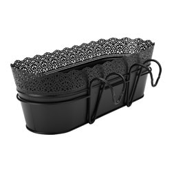 "SKURAR flower box with holder, indoor/outdoor, black Length: 20 "" Width: 7 ½ "" Height: 6 ¾ "" Length: 51 cm Width: 19 cm Height: 17 cm"