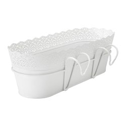 SKURAR flower box with holder, in/outdoor, white